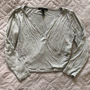Forever 21 grey long sleeve crop top
